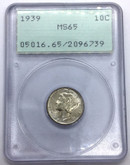 United States: 1939 Mercury Dime 10 Cent PCGS MS65