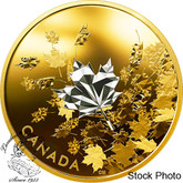 Canada: 2017 $50 Whispering Maple Leaves 3 oz. Reverse Gold-Plated Pure Silver Coin