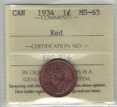 Canada: 1934 1 Cent ICCS MS65 Red