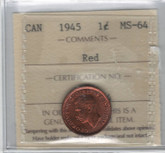 Canada: 1945 1 Cent ICCS MS64 Red