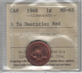 Canada: 1948 1 Cent A to Dent. ICCS MS65 Red