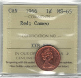 Canada: 1966 1 Cent ICCS MS65 Red Lot#2