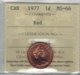 Canada: 1977 1 Cent ICCS MS66 Red