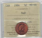 Canada: 1984 1 Cent ICCS MS66 Red