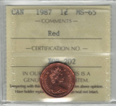 Canada: 1987 1 Cent ICCS MS65 Red