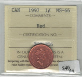 Canada: 1997 1 Cent ICCS MS66 Red