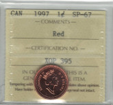 Canada: 1997 1 Cent ICCS SP67 Red