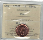 Canada: 2005P 1 Cent ICCS MS67 Red