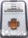 United States: 1947D 1 Cent NGC MS66RD