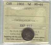 Canada: 1902 5 Cents ICCS MS64
