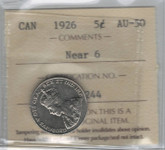 Canada: 1926 5 Cents Near 6 ICCS AU50 Lot#3