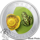 Canada: 2014 25 Cent Water-lily and Leopard Frog Coin