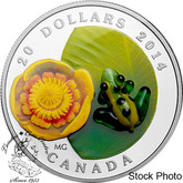 Canada: 2014 $20 Water-lily and Venetian Glass Leopard Frog Silver Coin
