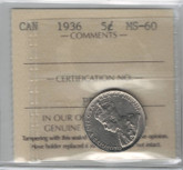 Canada: 1936 5 Cents ICCS MS60