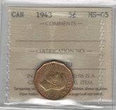 Canada: 1943 5 Cents ICCS MS65