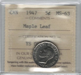 Canada: 1947 5 Cents Maple Leaf ICCS MS63