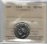 Canada: 1949 5 Cents ICCS MS64