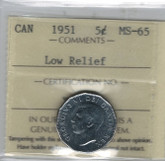 Canada: 1951 5 Cents Low Relief ICCS MS65