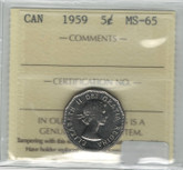 Canada: 1959 5 Cents ICCS MS65
