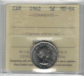 Canada: 1962 5 Cents ICCS MS64