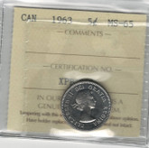 Canada: 1963 5 Cents ICCS MS65