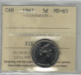 Canada: 1967 5 Cents ICCS MS65