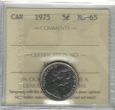 Canada: 1975 5 Cents ICCS MS65