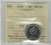 Canada: 1978 5 Cents ICCS MS65