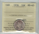 Canada: 1936 10 Cents ICCS MS65