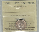 Canada: 1937 10 Cents ICCS MS65