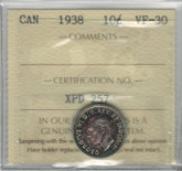 Canada: 1938 10 Cents ICCS VF30