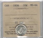 Canada: 1938 10 Cents ICCS MS64
