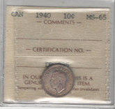 Canada: 1940 10 Cents ICCS MS65