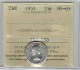 Canada: 1955 10 Cents ICCS MS65
