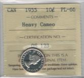 Canada: 1955 10 Cents Heavy Cameo ICCS PL66