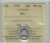 Canada: 1956 10 Cents Dot ICCS MS64