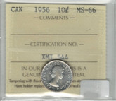 Canada: 1956 10 Cents ICCS MS66