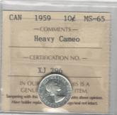 Canada: 1959 10 Cents Heavy Cameo ICCS MS65