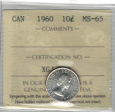 Canada: 1960 10 Cents ICCS MS65