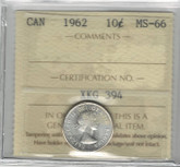 Canada: 1962 10 Cents ICCS MS66