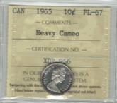 Canada: 1965 10 Cents Heavy Cameo ICCS PL67