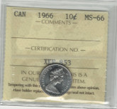 Canada: 1966 10 Cents ICCS MS66