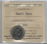 Canada: 1969 10 Cents Small Date ICCS MS65