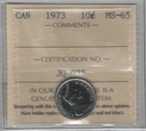 Canada: 1973 10 Cents ICCS MS65