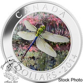 Canada: 2014 $10 Green Darner Dragonfly Hologram Silver Coin