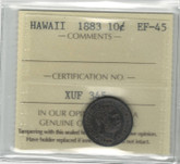 United States: 1883 Hawaii 10 Cent ICCS EF45