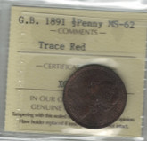 Great Britain: 1891 1/2 Penny ICCS MS62 Trace Red