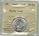 Canada: 1947 25 Cent Maple Leaf ICCS MS64 Lot#2