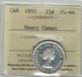 Canada: 1955 25 Cent Heavy Cameo ICCS PL66