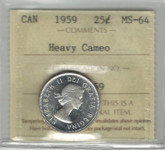 Canada: 1959 25 Cent Heavy Cameo ICCS MS64